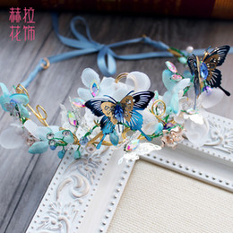 Wholesale Cheap Pageant Tiaras - Unique 2017 Blue Flower Crown Headband For Party Cheap Headpiece Flowers Tiaras With Butterflies Bridal Accessories Beads Pageant Crowns