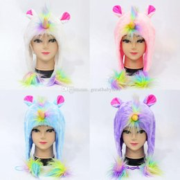 2019 cappelli unicorno Nuovi cappelli di unicorno peluche Cappelli invernali Cappelli di protezione caldi 4 colori C2969 cappelli unicorno economici