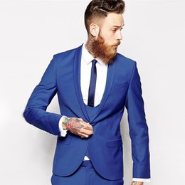 Wholesale Royal Blue Vest L - Wholesale- 2016 Custom Made Royal Blue Men Suit men tux Classic Groom Tuxedos Blazer Men Prom Mens Tux Bridegroom (Jacket+ Pant+Vest+Tie)