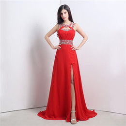 Crystal Jewel Red vestidos de fiesta con Side Slit Chiffon Criss-Cross Back Sexy vestidos de noche rojos Fiesta vestidos formales por la noche 2017 desde fabricantes