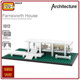 Wholesale Diy House Model - LOZ ideas Mini Blocks Farnsworth House Architecture Building Bircks DIY Toy Model Toys Puzzle Educational Children Gift 1012