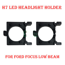 Wholesale Halogen Headlight Bulb Xenon H7 - 2PCS H7 LED Headlight Conversion Kit Bulb Base Holder Adapter Retainer Socket Clip For Ford Focus Low Beam HID Xenon Halogen Converter Upgra