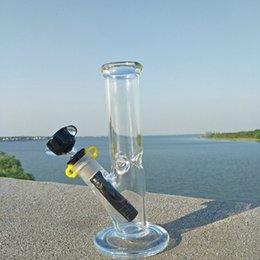 Wholesale Glasses Cylinders - 20cm bongs New Design glass straight cylinder bong water pipe hookahs pipe for Tobacco smoking Free Shipping