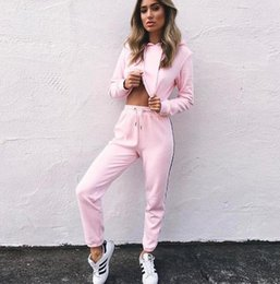 Wholesale Ladies Cycling Sets - Women's Tracksuits 2 Piece Set Pink Crop Top And Pants Fashion 2017 Autumn Casual Lady Tumblr Long Sleeve Hoodies Pants Suit