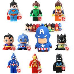 Wholesale Cheap 8gb Usb Drive - Cartoon Pendrives Superman Spiderman Captain America Batman Iron Man Cheap USB Flash Memory Stick Drive 8GB 16GB 4GB 32GB Promotional Gifts