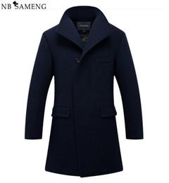 Wholesale Mens Cotton Wool Coats - Wholesale- New Man Long Trench Coat Wool Coat Winter Peacoat Men's Wool Coat Mens Overcoat Men's Coats Male Clothing M-2XL 13W0270