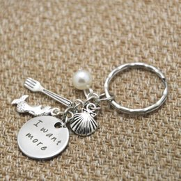 Wholesale Pearl Keyring - 12pcs lot Ariel Little Mermaid keyring I want more Pearl, for women or girls silver tone key chain