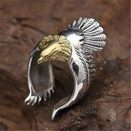 Wholesale Mens Gold Biker Rings - Newest Style Polishing Silver and Gold Biker Eagle Ring Top Quality 316L Brass Cool Mens Ring