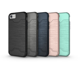 Wholesale Hard Case Cell Phone Wallets - Card Holder Cell phone Case Hard Shell Back Cover Kickstand Card Solt Case For iphone 7 7 Plus iphone6 6 Plus Samsung S7 Edge