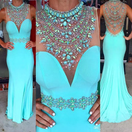 Wholesale Formal Dress Transparent Sleeves - New Pageant Mermaid Prom Dress 2017 Beads Sky Blue Colorful Evening Party Formal Gowns Handmade Rhinestones Modern Floor Length Transparent