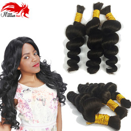Wholesale Remy Bulk Hair Extensions - Hannah product Best Sale Bulk Hair Loose Wave Virgin Remy Human Hair braiding Extensions Hair Bulk 3bundles 150gram
