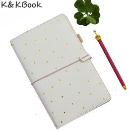 Wholesale Traveler Notebook Diary - Wholesale- KKBook Cute Leather Travelers Notebook Portable Traveler Journal Dotted Notebooks Diary Planner Stationery Papelaria