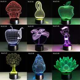 Wholesale Led Lights For Table Decorations - LED Table Light 3D Night Light 27 style 3D Lamps LED Lighting Fashion Desk Lamp Colorful Desk Lamp for Decoration
