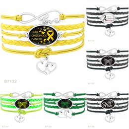 Wholesale Wholesales Hope Bracelets For Cancer - Infinity Love Hope Butterfly Cure Childhood Cancer Brain Cancer Awareness Heart Ribbon Wrap Bracelets for Womens & Mens Colorful Jewelry