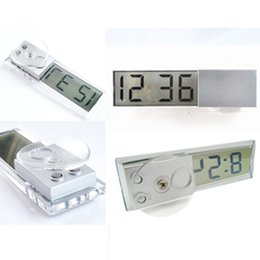 Wholesale Digital Lcd Display Clock - Wholesale-Free shipping Durable Digital LCD Display Car Electronic Clock With Sucker Cool