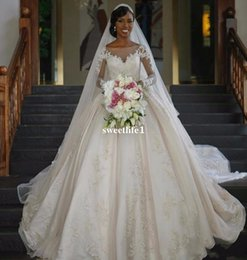Wholesale Dresses Size Weding - 2017 Vintage African Wedding Dresses Long Sleeve Ball Gown Sequin Bridal Gowns Weding Dress Bridal Bride Dresses Wedding Dress