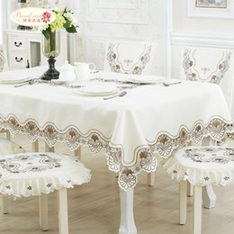 Wholesale White Tablecloth Runner - 1 Piece European Contracted Rice White Silk Embroidered Tablecloths  Tea Table Cloth TV Ark Cloth  Table Runner Chair Set Suit