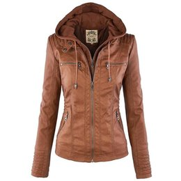 Wholesale Basic Hats - Women Jackets Female Faux Leather Jacket Long Sleeve Hat Removable Basic Coats Waterproof Windproof Winter Women's Clothing