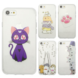 Wholesale cell phone pets - For iphone 7 plus 6s plus Soft TPU transparent Case pet animal cat dog Painting protector funny silicon Cell Phone Cases