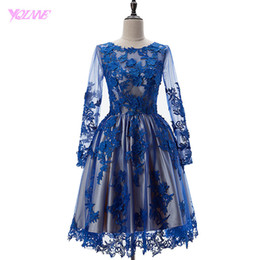 Wholesale Cute Knee Length Maternity Dresses - Cute Royal Blue Short Prom Dresses 2017 Full Sleeves Ball Gown Party Dress Jewel Lace Tulle Knee Length Real Phtos Gowns