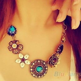 Wholesale Crystal Bib Necklace Wholesale - Wholesale-Retro Vintage European Style Gorgeous Austria Turquoise Crystal Flowers Bib Statement Necklace for Wedding Party 045I