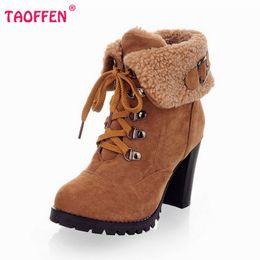 Wholesale Size 32 Boots - Wholesale-women high heel half short ankle boots winter martin snow botas fashion footwear warm heels boot shoes AH195 size 32-43