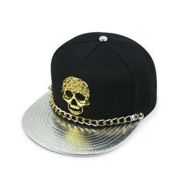 Wholesale Metal Snapback Hats - Mens Boys Skull Snapback Hip-Hop Hat Cool Bboys Metal Chain Skeleton Baseball Cap Dancing Playing Basketball Golf Driving Motorcycle Biking