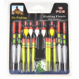 Wholesale Lures Floating - Wholesale- 1 set (15Pcs) Vertical Buoy Sea Fishing Floats Assorted Size for Most Type of Angling with Attachment Rubbers Fishing Lures