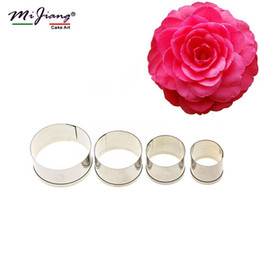 Wholesale metal cookie cutters set - Mijiang 4pcs set Stainless Steel Round Shaped Cake Cookie Cutters Fondant Cake Decorating Tools for Baking Bakeware Wholesale A307