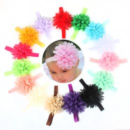 Wholesale Wholesale Silk Xmas Flowers - Baby lace Flower Hair band 15 color silk Hair rope band elastic headband Head Bands Xmas baby Hair band