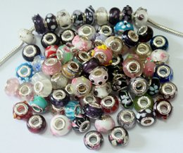 Wholesale Sterling 925 Silver Lampwork - 50Pcs Mixed 925 Sterling Silver Big Hole Murano Lampwork Glass Charm Beads For Pandora European Jewelry Bracelet Christmas Gifts Woman