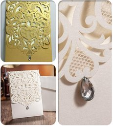 Wholesale Invitation Wedding Card Design - Hot Sale New Designs Diamond Wedding Invitation Cards White Coffee Hollow out Laser Cut Greeting Business Invite Cards DHL Free
