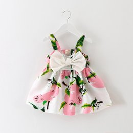 Wholesale Bridal Clothes - 2017 summer new girl children's clothing Fashion Print Big Bowknot suspender Dress Elegant Pageant Wedding Bridal Tulle Formal Party Dress
