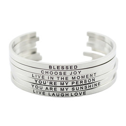 Wholesale Engrave Bracelets - New arrival! 316L Stainless Steel Engraved Positive Inspirational Quote Cuff Mantra Bracelet Bangle for women men