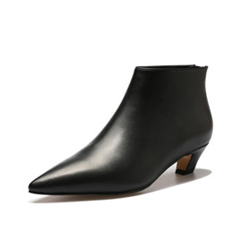 Wholesale Snap Back Plain - Sexy Kitten Heel Ankle Boots For Women Back Zipper Pointed Toe Black Chelsea Boots Fashion Street Snap Women Boots