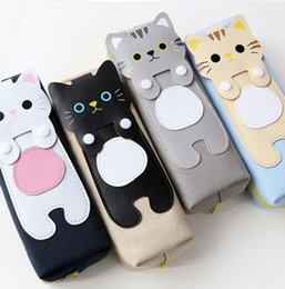 Wholesale Kitty Cat Pencil Bag - Cartoon Kawaii Cat Canvas Pencil Bag Cases For Girl Kids Children Stationery School Supply Storage Quality Kitty of Style