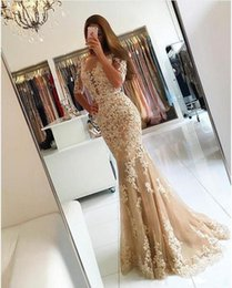 Wholesale Engagement Dress Red - Champagne Lace Mermaid Evening Dresses 2017 Applique Sexy Backless Long Prom Dresses With Sleeves Women Party Gowns Formal Engagement Dress