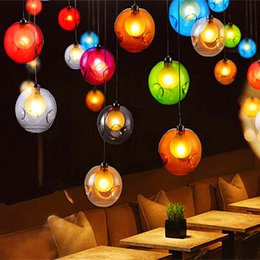 Wholesale Glass Modern - Modern Crystal chandelier Colorful glass ball LED pendant lamp for dining room living room bar G4 led bulb AC 85-265V free shipping