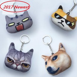Wholesale Platinum Promotions - 2017 NEW 3D Double-sided Printing Cat Dog Head Keychains Novel And Practical Cartoon Plush Pendant Key Ring Creative Gifts
