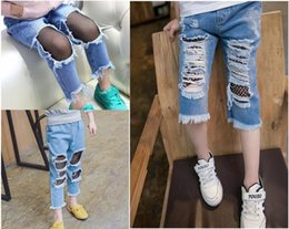Wholesale Kids Bow Jeans - New Fishnet Design Children's Denim Trousers Kids Girls Boys Blue Pants Ripped Jeans 5 p l