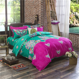 Wholesale White Bedding Blue Flowering - 100% Cotton Polyester Flower Printed Bedding set Bed Sheet Duvet Cover Oriental Vintage Style Bed Linen Bedclothes Cover