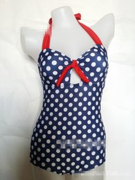 Wholesale Wholesale Conjoined - 2017 new Siamese retro retro point high waist sexy fattening ladies swimsuit conjoined swimsuit YQ 017