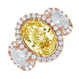 Wholesale Oval Yellow Engagement Rings - 10.00 CTW Oval Fancy Yellow Halo Oval Cut Diamond Engagement Ring GIA Certified