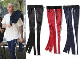 Wholesale Flat Black Clothing - New side zipper pants hip hop Fear Of God Fashion urban clothing red bottoms justin bieber FOG jogger pants Black red blue