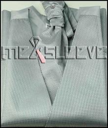 Wholesale Tuxedo Ascot Tie - Wholesale- Wholesale Men's Suit Tuxedo Dress silver with black dot Vest and ascot tie Set