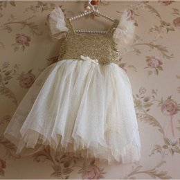 Wholesale Wholesale Cotton Frock For Kids - Baby Girls Birthday Dresses White Sequins Kids Party Wear Wedding Dresses Frock Design For Baby Girl