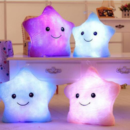 Wholesale Glow Light Pillows - Wholesale- HOt Sale Colorful Body Pillow Star Glow LED Luminous Light Pillow Cushion Soft Relax Gift
