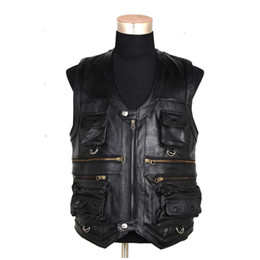Wholesale Motorcycles Leather Vest - Wholesale- Sleeveless Genuine Leather Jacket Men Casual Vest With Many Pockets Brown Black Waistcoat Windproof Motorcycle Vest 6XL
