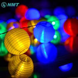Wholesale Solar Lantern Fairy Lights - Wholesale- Lantern Ball Solar LED String Lights 20 LED Solar Lamp Outdoor Lighting Fairy Globe Christmas Decorative Light for Party Holiday