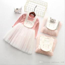 Wholesale Dress Bibs - 2017 new arrivals girls long sleeve Detachable cartoon rabbit Bib dress gauze skirt dress girl's elegant Spring Dresses 3 colors